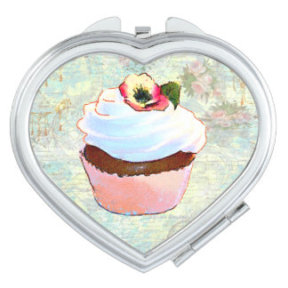 Chocolate Cupcake and Pink Roses Compact Mirrors