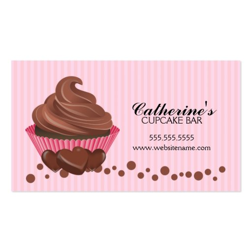 Chocolate cupcake bakery business cards zazzle for Cupcake business card