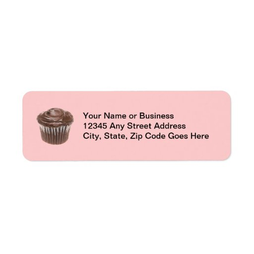 Chocolate Cupcake Custom Name Return Address Label