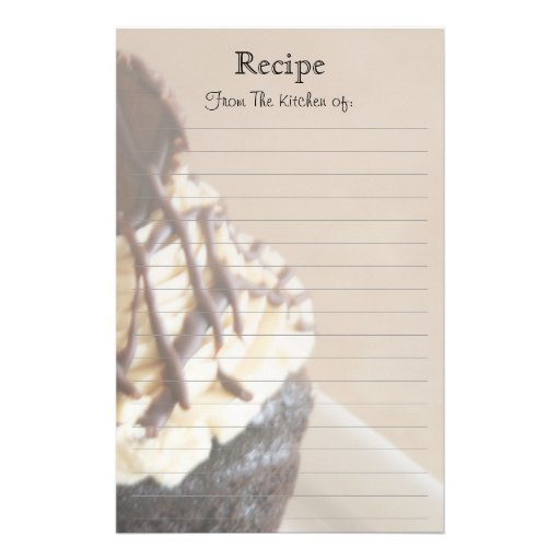 Chocolate Cupcake Lined Recipe Stationery