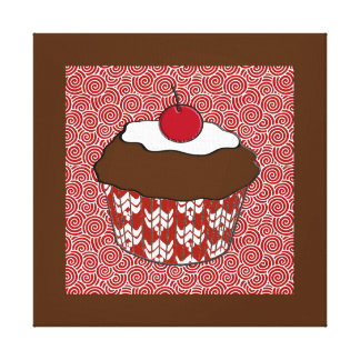Chocolate Cupcake on Red and White Pattern Canvas Print