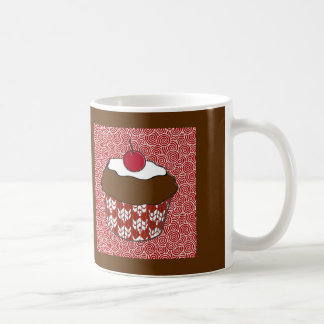 Chocolate Cupcake on Red and White Pattern Coffee Mug