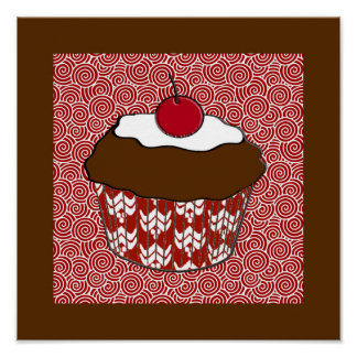 Chocolate Cupcake on Red and White Pattern Poster
