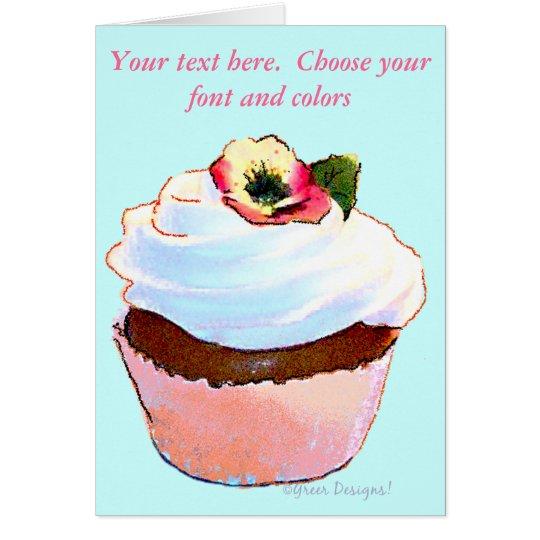 Chocolate Cupcake Pansy on Top Card
