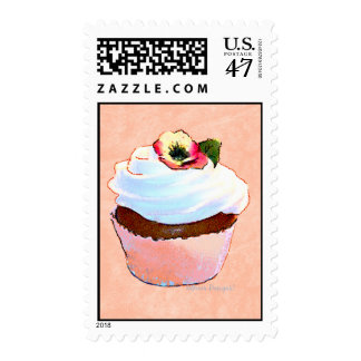 Chocolate Cupcake Pansy on Top Postage