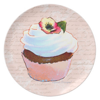 Chocolate Cupcake Pink French Script Writing Plate