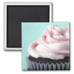 Chocolate Cupcake Pink Vanilla Frosting 2 Inch Square Magnet