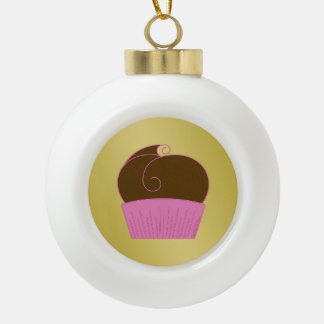 Chocolate Cupcake Pink Wrapper Ceramic Ball Christmas Ornament