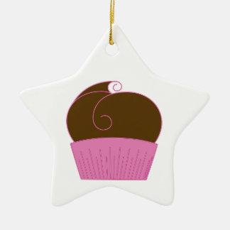 Chocolate Cupcake Pink Wrapper Ceramic Ornament