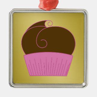 Chocolate Cupcake Pink Wrapper Metal Ornament
