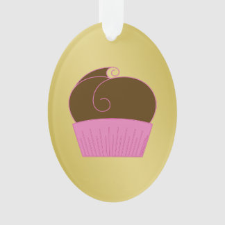 Chocolate Cupcake Pink Wrapper Ornament
