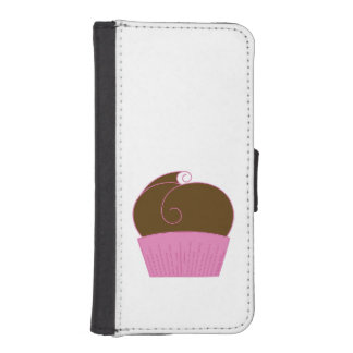 Chocolate Cupcake Pink Wrapper Phone Wallet Case