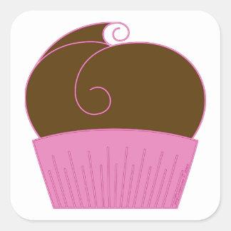 Chocolate Cupcake Pink Wrapper Square Sticker