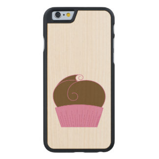 Chocolate Cupcake Pink Wrapper Carved® Maple iPhone 6 Case