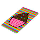 Chocolate Cupcake Rainbow Striped Flexible Magnet
