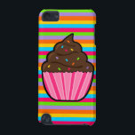 "Chocolate Cupcake Rainbow Striped iPod Touch Case<br><div class=""desc"">Our Rainbow Cupcake design features a yummy chocolate cupcake with rainbow sprinkles on a rainbow striped background. Rainbow Cupcake Products Birthday Invitation RSVP Card Favor Label Sticker - square Favor Label Sticker - rainbow round Favor Label Sticker - pink round Note Card Postage Stamps - Pink Background Postage Stamps -...</div>"