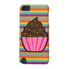 Chocolate Cupcake Rainbow Striped Ipod Touch Case at Zazzle