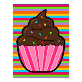 Chocolate Cupcake Rainbow Striped Postcard