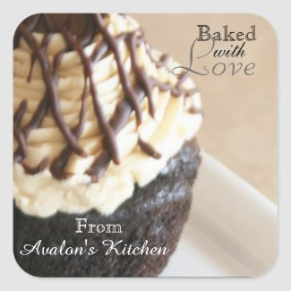 Chocolate Cupcake Square Baking Stickers