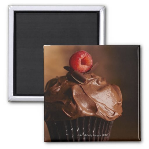Chocolate Cupcake with a Raspberry topping 2 Inch Square Magnet
