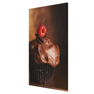 Chocolate Cupcake with a Raspberry topping Canvas Print