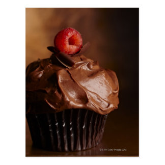 Chocolate Cupcake with a Raspberry topping Postcard