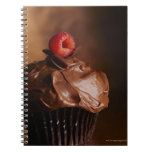 Chocolate Cupcake with a Raspberry topping Spiral Notebook