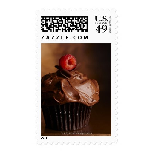 Chocolate Cupcake with a Raspberry topping Stamps
