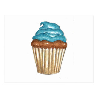 Chocolate Cupcake with blue frosting Postcard