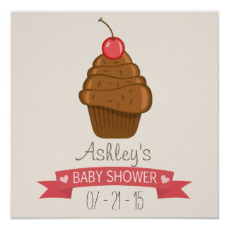Chocolate Cupcake with Cherry Baby Shower Poster