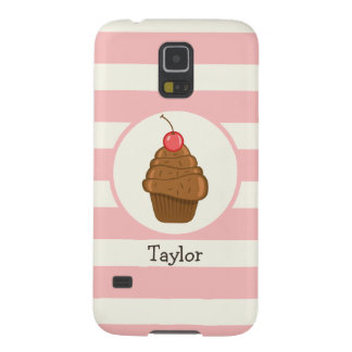 Chocolate Cupcake with Cherry & Pink Stripes Galaxy S5 Cover