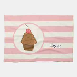 Chocolate Cupcake with Cherry & Pink Stripes Towel