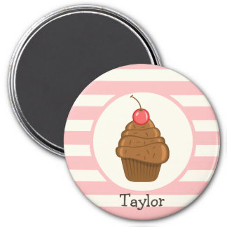 Chocolate Cupcake with Cherry & Pink Stripes Refrigerator Magnets