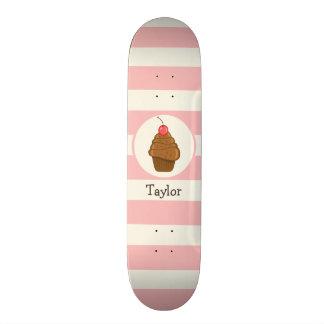 Chocolate Cupcake with Cherry & Pink Stripes Skateboard