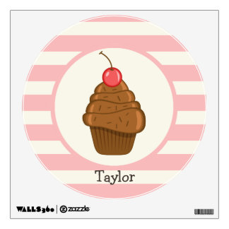 Chocolate Cupcake with Cherry & Pink Stripes Room Sticker