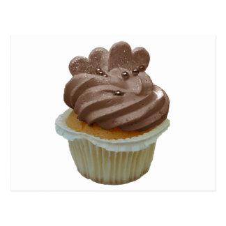 Chocolate Cupcake with Hearts Postcard