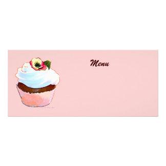 Chocolate Cupcake with Pansy Menu Personalized Rack Card