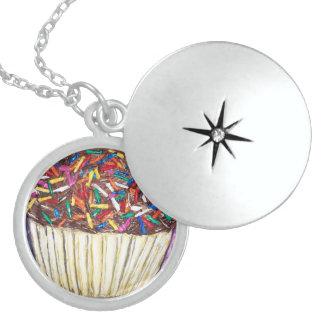 chocolate cupcake with sprinkles art original round locket necklace