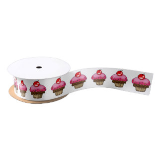 chocolate cupcake with strawberry cream pattern satin ribbon