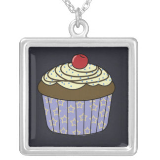 Chocolate Cupcake with Yellow Frosting on Blue Silver Plated Necklace