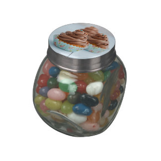Chocolate cupcakes glass candy jars
