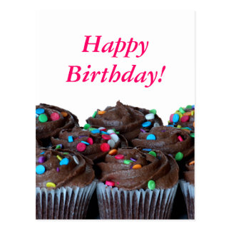 Chocolate Cupcakes Happy Birthday Postcard