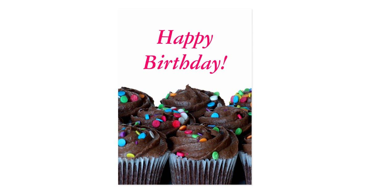 Chocolate Cupcakes Happy Birthday Postcard   Zazzle