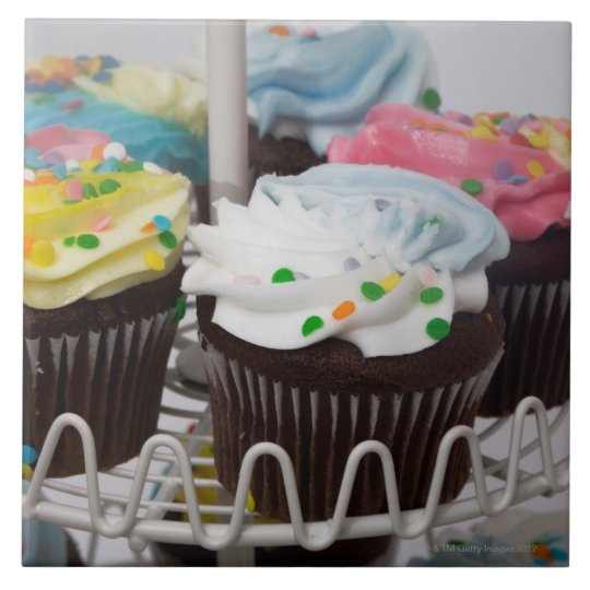 Chocolate cupcakes on a cake stand 2 ceramic tile