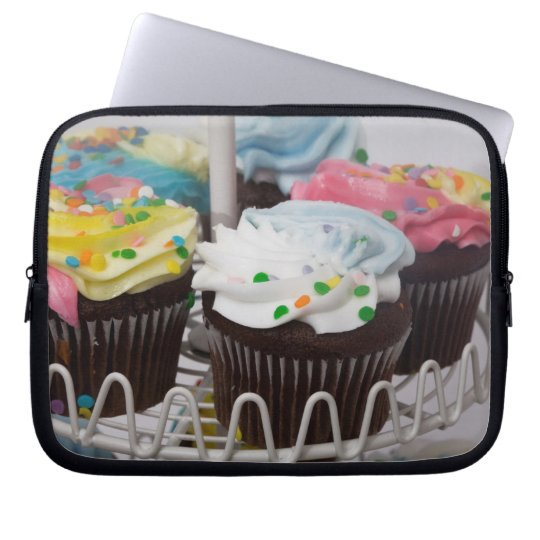 Chocolate cupcakes on a cake stand 2 laptop sleeve