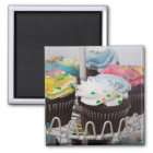 Chocolate cupcakes on a cake stand 2 magnet