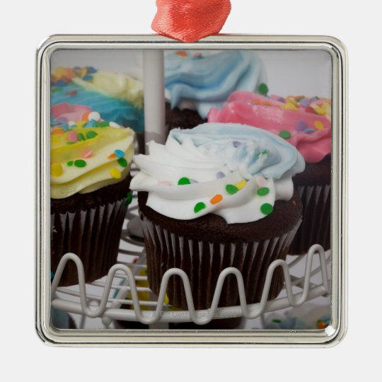 Chocolate cupcakes on a cake stand 2 metal ornament