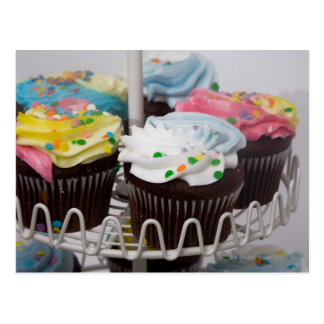 Chocolate cupcakes on a cake stand 2 postcard