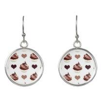 chocolate cupcakes pattern earrings