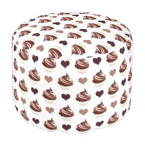chocolate cupcakes pattern pouf